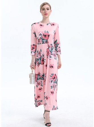 Cotton Blends With Print Midi Dress