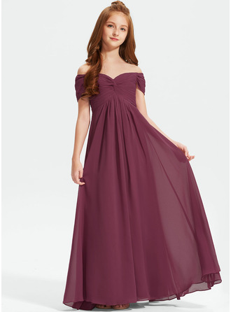 Off-the-Shoulder Floor-Length Chiffon Junior Bridesmaid Dress With Ruffle