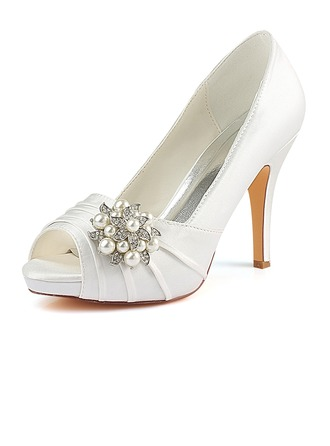 Women's Silk Like Satin Stiletto Heel Peep Toe Pumps With Ruffles Crystal Pearl
