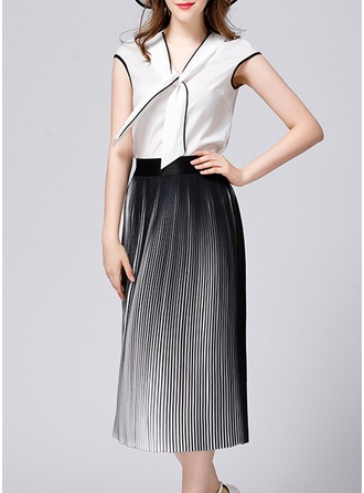 Polyester With Stitching Midi Dress (Two Pieces )