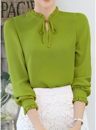 Plain Long Sleeves Chiffon Round Neck Casual Blouses Blouses
