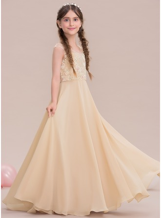 A-Line/Princess Scoop Neck Floor-Length Chiffon Junior Bridesmaid Dress With Beading Sequins