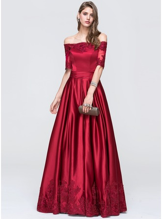 A-Line/Princess Off-the-Shoulder Floor-Length Satin Prom Dress With Ruffle