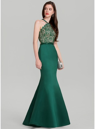 Trumpet/Mermaid V-neck Floor-Length Satin Evening Dress With Beading