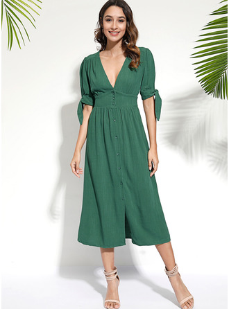 V-Neck Cotton Polyester Dresses