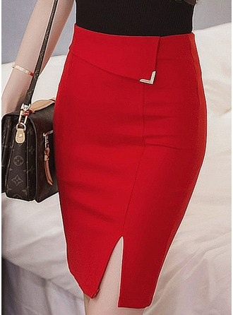 Knitting Plain Above Knee Bodycon Skirts