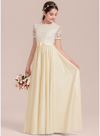 Floor-length Flower Girl Dress - Satin Short Sleeves Scoop Neck With Flower(s)