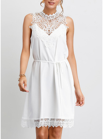 Polyester With Lace/Hollow/Solid Knee Length Dress