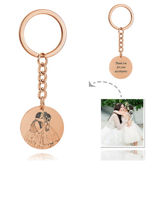 Bride Gifts - Personalized Photo Engraved Black And White Sterling Silver 18K Rose Gold Plated Keychains