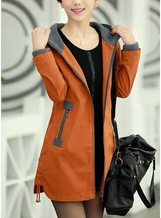 Wool Long Sleeves Patchwork Slim Fit Coats Coats