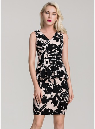 Polyester With Stitching/Print Above Knee Dress (Two Pieces )