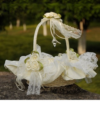 Flower Basket in Cloth With Lace/Flower