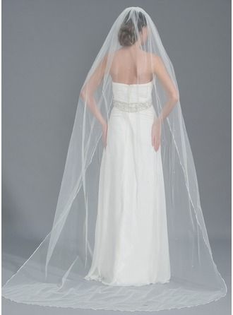 One-tier Chapel Bridal Veils With Beading