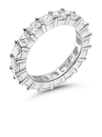 Eternity Cushion Cut 925 Silver Women's Bands