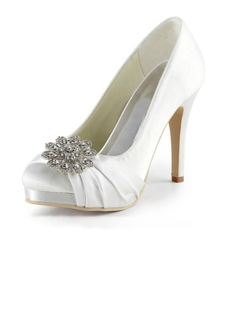 Women's Silk Like Satin Stiletto Heel Platform Pumps With Crystal