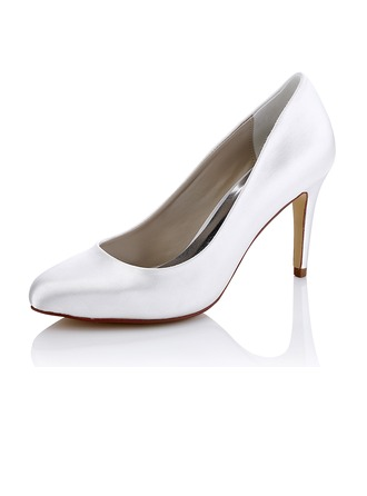 Women's Silk Stiletto Heel Pumps Dyeable Shoes