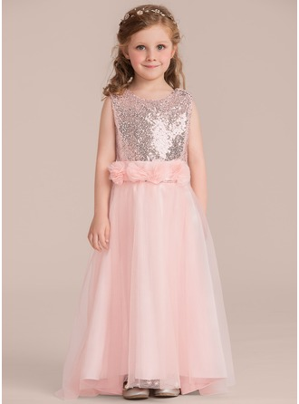 Floor-length Flower Girl Dress - Tulle Sequined Sleeveless Scoop Neck