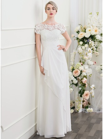 A-Line/Princess Scoop Neck Floor-Length Chiffon Wedding Dress With Cascading Ruffles