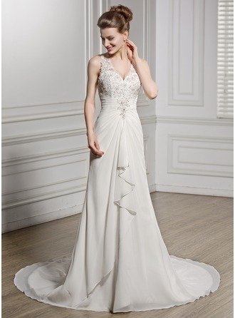 A-Line/Princess V-neck Chapel Train Chiffon Wedding Dress With Beading Appliques Lace Sequins Cascading Ruffles