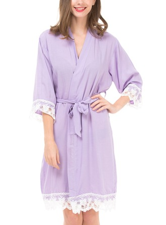 Cotton Bride Bridesmaid Mom Lace Robes