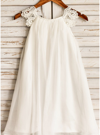 Tea-length Flower Girl Dress - Chiffon Sleeveless Scoop Neck