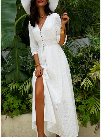 Lace Print V-Neck 1/2 Sleeves Maxi Dresses