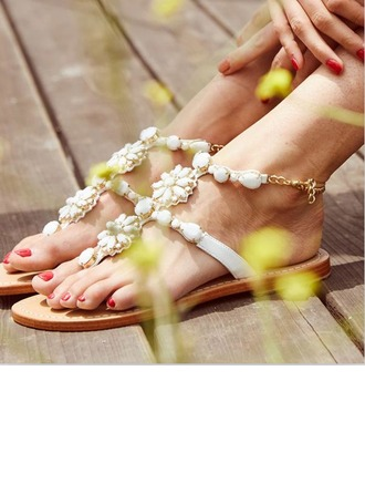 Femmes Similicuir Talon plat Sandales Beach Wedding Shoes avec Perle d'imitation Strass