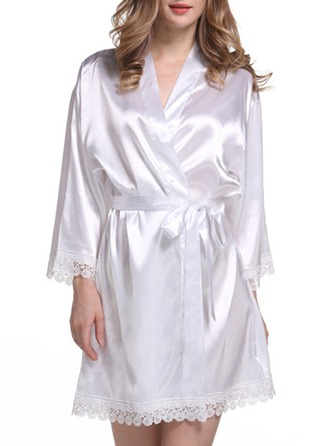 Bride Bridesmaid Polyester With Short Satin & Lace Robes