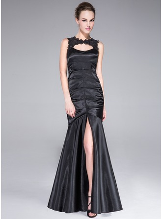 Trumpet/Mermaid Scoop Neck Floor-Length Charmeuse Evening Dress With Lace Split Front