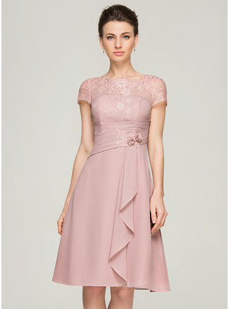 Scoop Neck Knee-Length Chiffon Lace Mother of the Bride Dress With Beading Flower(s) Sequins Cascading Ruffles