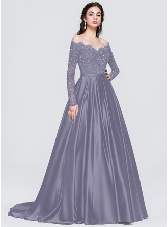 Off-the-Shoulder Sweep Train Satin Prom Dresses With Beading