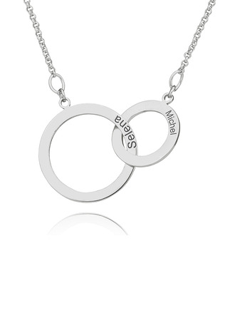 Custom Sterling Silver Circle Two Engraved Necklace Circle Necklace