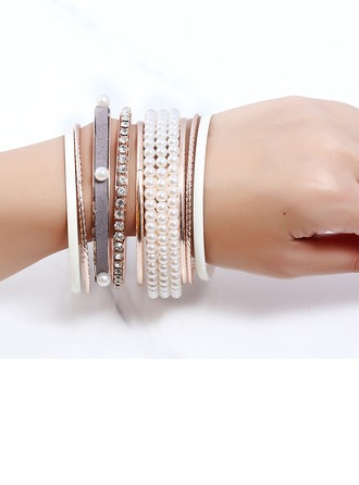 Chic Alliage Strass De faux pearl avec Strass Dames Bracelets de mode (Lot de 8)