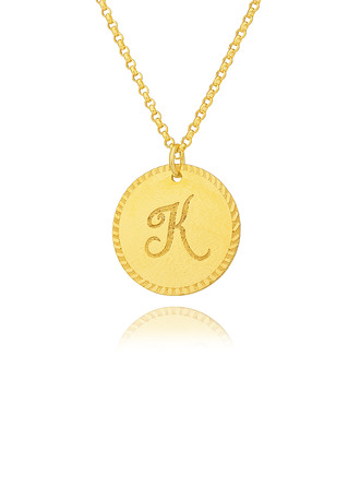 Custom 18k Gold Plated Silver Engraving/Engraved Letter Circle Initial Necklace Circle Necklace