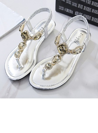 Femmes Similicuir Talon plat Chaussures plates Sandales Beach Wedding Shoes avec Strass