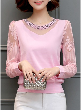 Plain Long Sleeves Cotton Blends Round Neck Casual Blouses Blouses