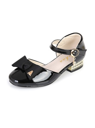 Girl's Leatherette Low Heel Round Toe Closed Toe Sandals With Bowknot Buckle Velcro
