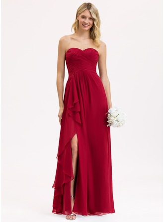 Sweetheart Floor-Length Chiffon Bridesmaid Dress With Split Front Cascading Ruffles