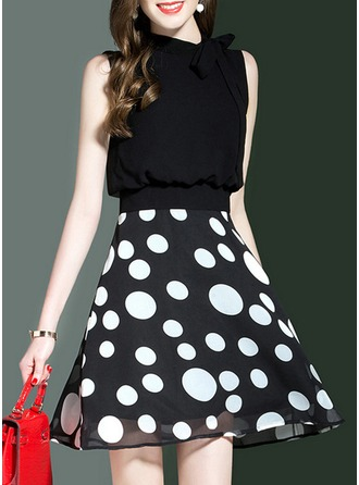 With Bowknot/Stitching/Print Above Knee Dress