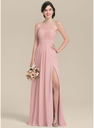 A-Line Scoop Neck Floor-Length Chiffon Lace Bridesmaid Dress With Ruffle Split Front