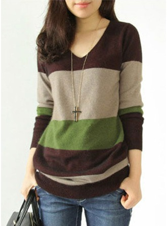 Polyester V-neck Sweater