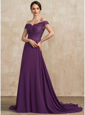Off-the-Shoulder Sweep Train Chiffon Lace Mother of the Bride Dress With Beading Sequins