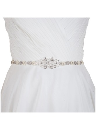 Elegant Satin/Alloy Sash With Rhinestones/Imitation Pearls