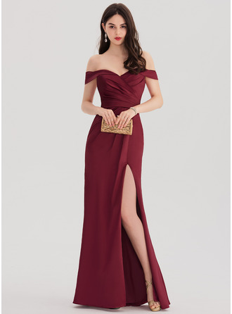 Sheath/Column Off-the-Shoulder Floor-Length Satin Prom Dresses With Ruffle Split Front