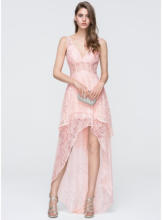 A-Line/Princess V-neck Asymmetrical Lace Prom Dress