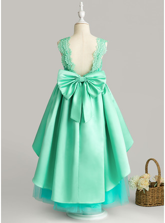Ball-Gown/Princess Ankle-length Flower Girl Dress - Satin Tulle Lace Sleeveless Scoop Neck With Bow(s)