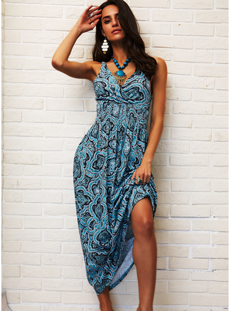 Print A-line V-Neck Sleeveless Maxi Boho Casual Vacation Skater Dresses