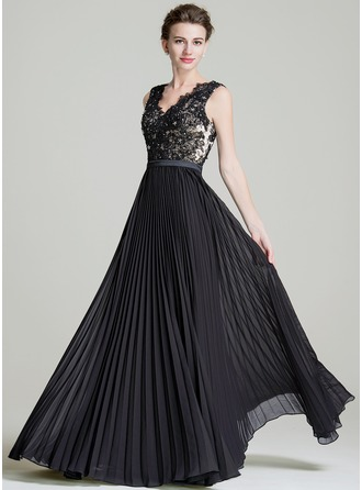 A-Line/Princess V-neck Floor-Length Chiffon Mother of the Bride Dress With Beading Sequins Pleated
