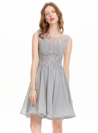 A-Line/Princess Scoop Neck Knee-Length Chiffon Prom Dress