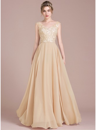 A-Line/Princess V-neck Floor-Length Chiffon Lace Bridesmaid Dress With Beading Sequins
